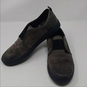 BORN dark taupe suede/leather slip on loafers